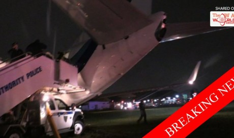 Plane carrying Pence skids off runway