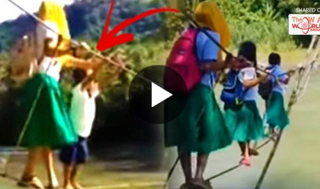 These Children Cross A Thin Rope Bridge Over a River Just to Get To School and Netizens are Calling For Politicians to do Something!
