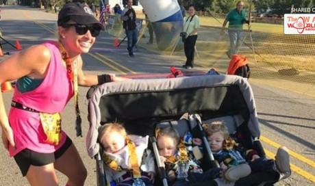 This Mom Ran a Half-Marathon While Pushing Her Triplets in a Stroller