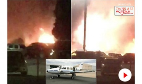 Horror as plane crashes into car park and bursts into flames killing four - including heart transplant patient