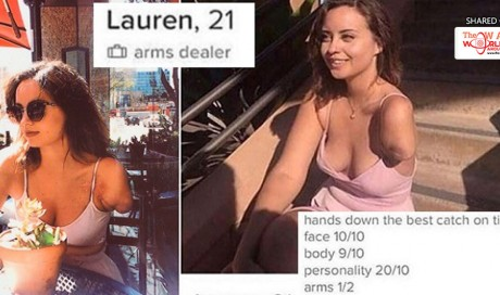 One-Armed Woman's Hilarious but Clever Tinder Profile Catches Netizens by Surprise