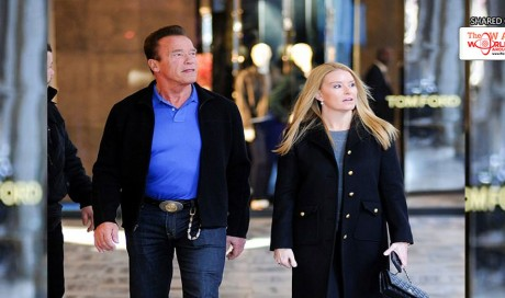 Arnold Schwarzenegger, 70, looks in high spirits as he joins girlfriend Heather Milligan, 43, for a romantic stroll in Milan