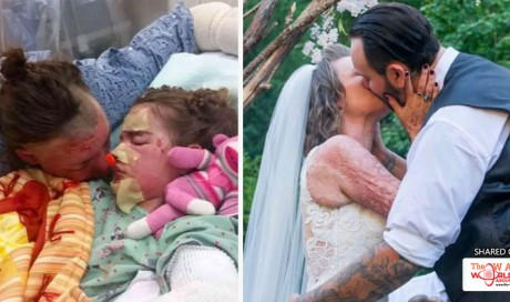 Man Finally Marries Long-Time Girlfriend after She Nearly Lost Her Life Trying to Save Their Kids