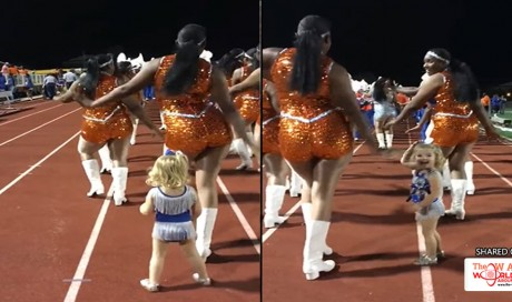 2-Year-Old Girl Melts Hearts as She Joins Half-Time Performance of the Cheerleaders