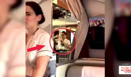 Flight attendant was caught pouring Champagne leftovers back into a bottle on Emirates flight