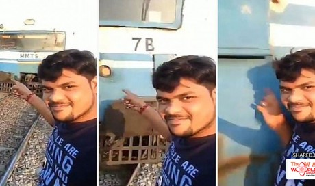 Man is lucky to survive after filming himself being hit by a TRAIN as he posed for a selfie while it headed towards him