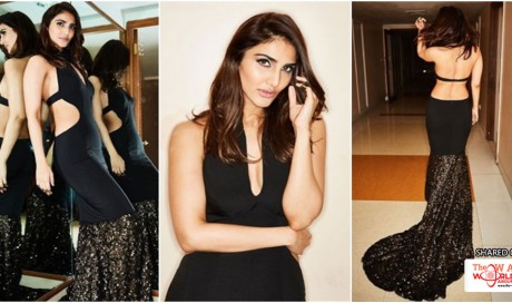 Vaani Kapoor sizzles in an open-back, black Nikhil Thampi gown