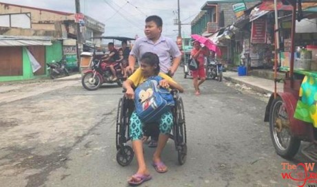 12-year-old boy goes to school every day with his ailing mother