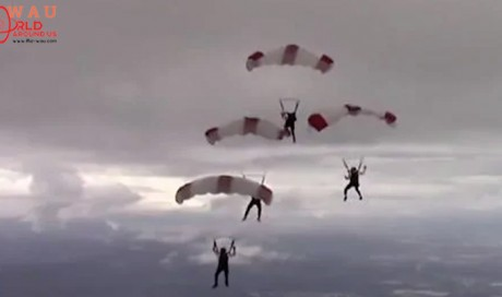 Skydivers from Qatar have miraculous escape after their parachutes get tangled