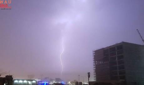 Sandstorm with lighting in Qatar