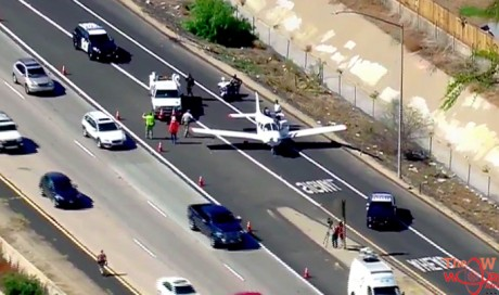 Video: Plane makes emergency landing on highway amid busy traffic