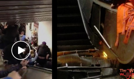 Video: More than 20 injured as escalator 'collapses' at metro station