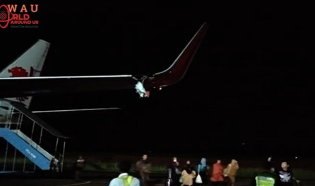 Lion Air plane wing torn in airport runway accident
