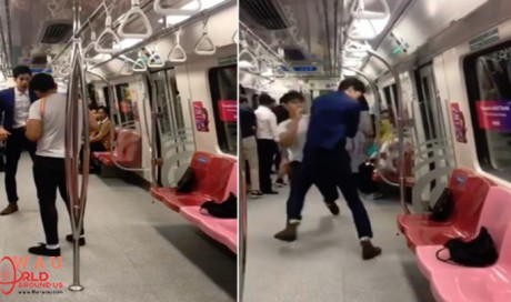 Two men arrested after video of bloody fight on board MRT train goes viral