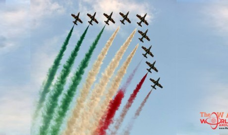 Italian Air Force, together with the Qatari Display Team paints the skies over Doha Corniche