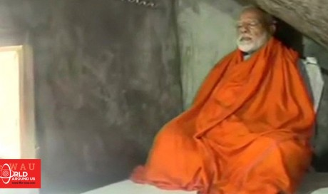 Indian PM Modi meditates in a cave, pictures go viral